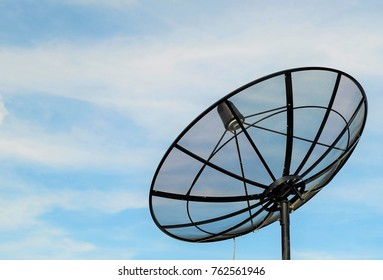 satellite dish with blue sky cloudy background.concept technology receiver.