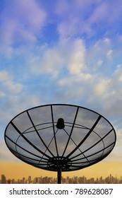satellite dish cityscape background