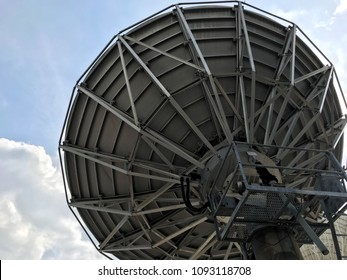 satellite dish communication at television station.