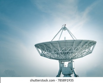 Satellite dish at earth station with a blue sky in the background