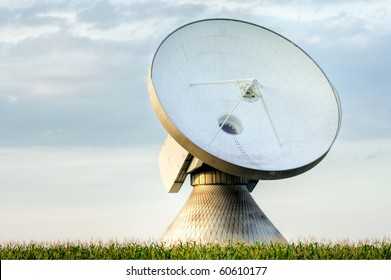 A satellite dish in a field of corn.