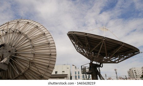 Satellite dish, locators are looking at the sky. TV and radio broadcasting, signal transmission.