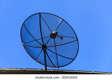 Satellite dish on blue sky