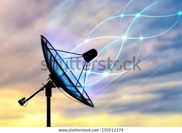 Satellite dish receiving data signal for communication