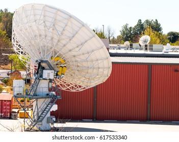 Satellite Dish sending signals and receiving.