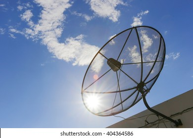Satellite dish to the sky in blue sky background with tiny clouds