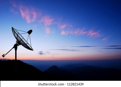 Satellite dish sky sunset communication technology network image background for design