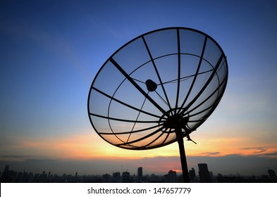 Satellite dish sky sunset communication technology network