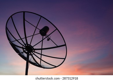 Satellite dish at sky sunset communication technology network