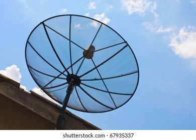 satellite dish with sunshine blue sky