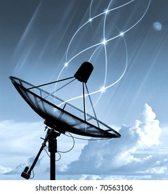 Satellite dish transfer data - blue tone