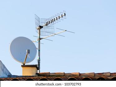 satellite dish and tv antenna