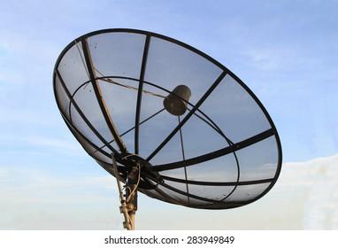 Satellite dish with twilight sky background