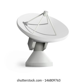 Satellite dishes antenna - Doppler radar isolated on white