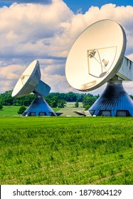 satellite dishes at the earth station in raisting - germany