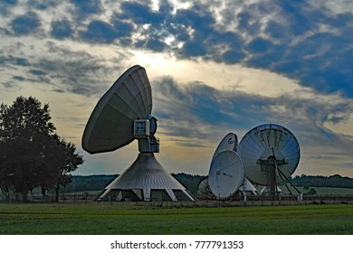 Satellite dishes near Munich, Germany. October 2017. For editorial use only