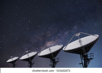 Satellite Dishes on building for telecommunication