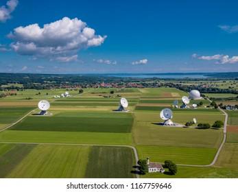 Satellite earth station Raisting, satellite antennae, Lake Ammersee, Pfaffenwinkel, Upper Bavaria, Germany, Europe, aerial view, Europe, 01. July 2016