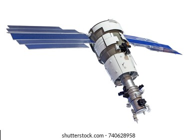 Satellite for earth surface probing isolated on white background