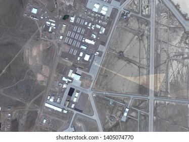 satellite image of area 51 top secret military base with mysterious blacked out area in the middle