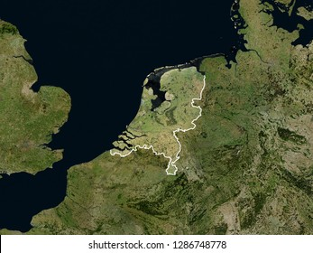 Satellite image of the Netherlands with borders (Isolated imagery of the Netherlands. Elements of this image furnished by NASA)