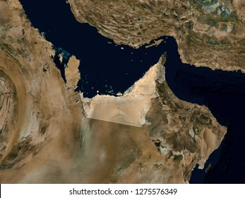 Satellite image of United Arab Emirates ( Isolated imagery of UAE. Elements of this image furnished by NASA)