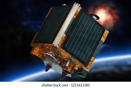 satellite imaging and  remote sensing of the earth (satellite in space)