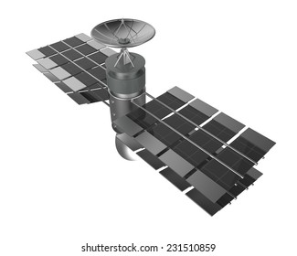 satellite isolate on white with clipping mask , clipping path