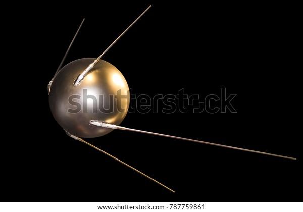 satellite model isolated on black background
