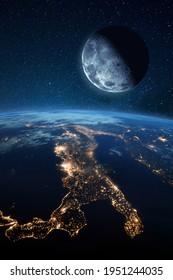 Satellitenmond in der Nähe von blauen Planeten Erde und Nachtstädte mit Lichtern. Weltraumbild