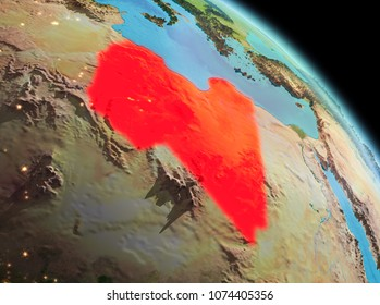 Satellite morning view of Libya highlighted in red on planet Earth. 3D illustration. Elements of this image furnished by NASA.