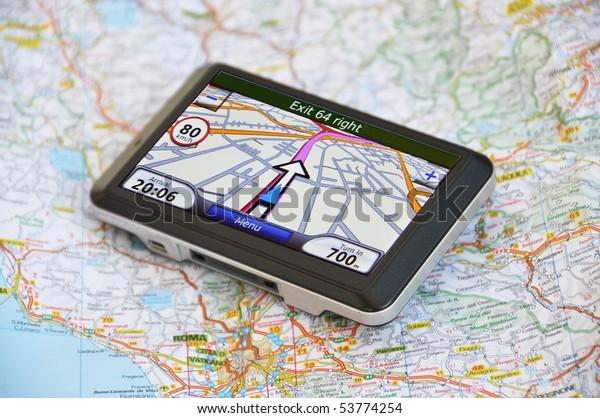 Satellite navigaton system on the map