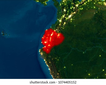 Republic of ecuador images stock photos vectors shutterstock satellite night view of ecuador highlighted in red on planet earth 3d illustration elements gumiabroncs Image collections