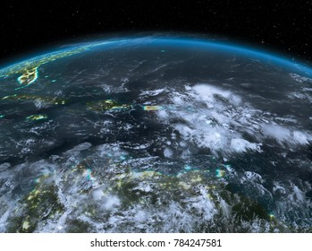 Satellite night view of Puerto Rico highlighted in red on planet Earth with clouds. 3D illustration. Elements of this image furnished by NASA.