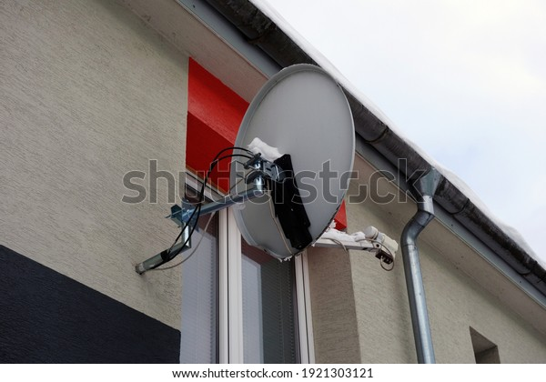 Satellite on the wall of the building