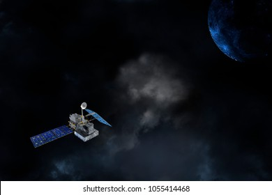 satellite in orbit around a large planet, outer space