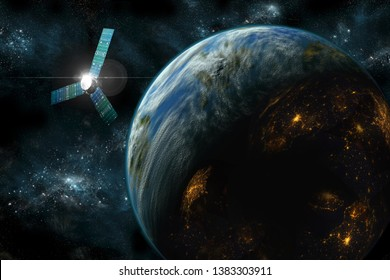 A satellite orbits an inhabited alien planet like Earth. Sunlight reflects off the satellite as lights can be seen on the night side of the planet. Elements of this image courtesy of NASA.