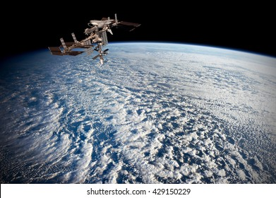 Satellite planet Earth ocean international meteorology telecommunication outer space station iss. Elements of this image furnished by NASA.