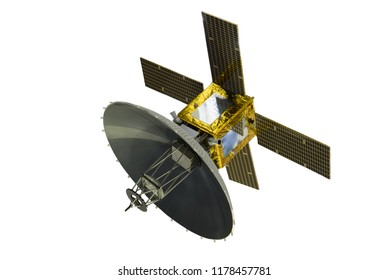Satellite with solar panels, isolated on white background.