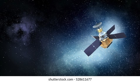 Satellite in space . Mixed media