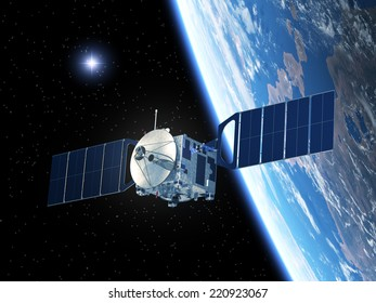 Satellite And Star. 3D Scene. Elements of this image furnished by NASA.