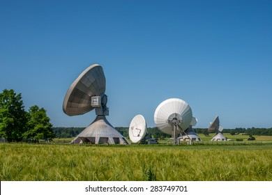Satellite systems in the sunshine and with blue sky