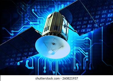Satellite Technology Concept Illustration. Communication Satellite on Circuit Board Blue Technology Background.