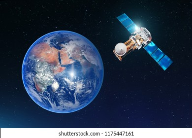 Satellite telecommunication connection, transmits radio communication on the geostationary orbit of the Earth. Against the background of the planet. Elements of this image furnished by NASA