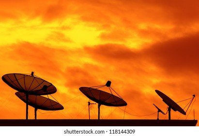 Satellite television transmission signal. The background is the sky orange.