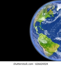 Satellite view of Americas on planet Earth. 3D illustration with detailed planet surface. Elements of this image furnished by NASA.