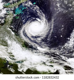 Satellite view. Hurricane planet Earth. Elements of this image furnished by NASA.