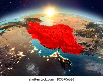 Satellite view of Iran highlighted in red on planet Earth with clouds during sunrise. 3D illustration. Elements of this image furnished by NASA.