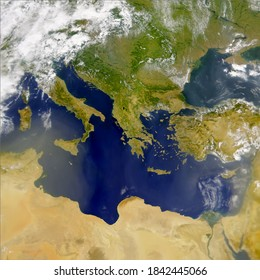 Satellite view of the Mediterranean sea and south of Europe. Egypt,Italy,Israel, Greece, Turkey, Tunicia, Algeria,Serbia, Rumanía and Balkans .Elements of this image furnished by NASA.