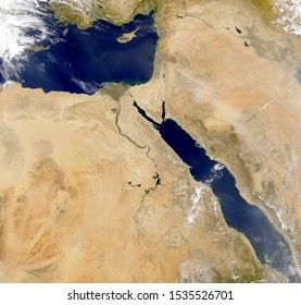 Satellite view Middle East.Red Sea, Saudi Arabia, Egypt, Israel, Palestine,Iraq and Syria. Elements of this image furnished by NASA.